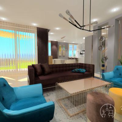 Holló Annamária lakberendező referencia - nappali 3D - Kifinomult luxus