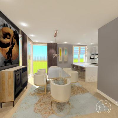 Holló Annamária lakberendező referencia előszoba 3D - Kifinomult luxus