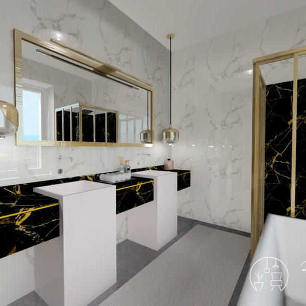 Holló Annamária lakberendező referencia fürdő 3D - Kifinomult luxus