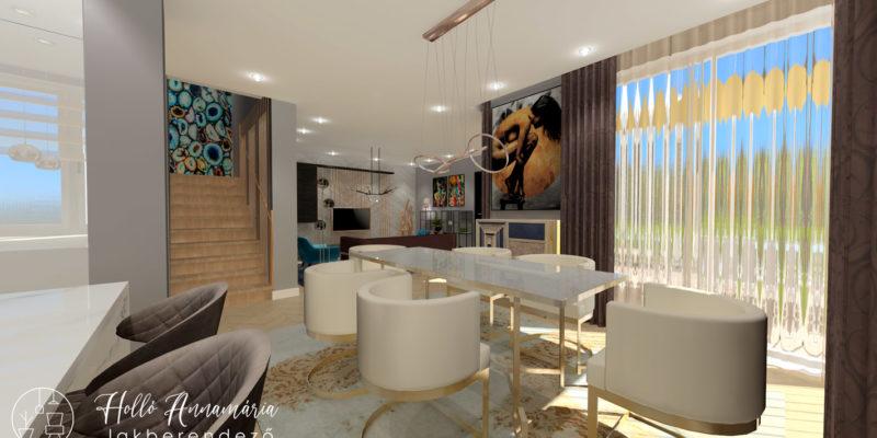 Holló Annamária lakberendező referencia - étkező 3D - Kifinomult luxus