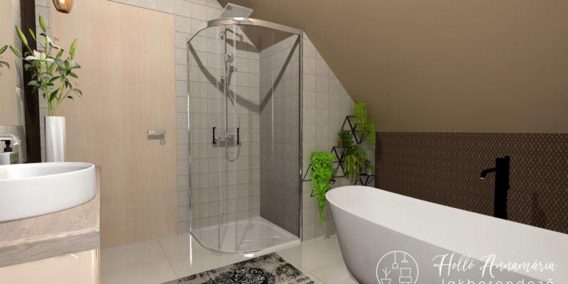 Holló Annamária lakberendező referencia - fürdőszoba 3D - Jól kihasznált tetőtér