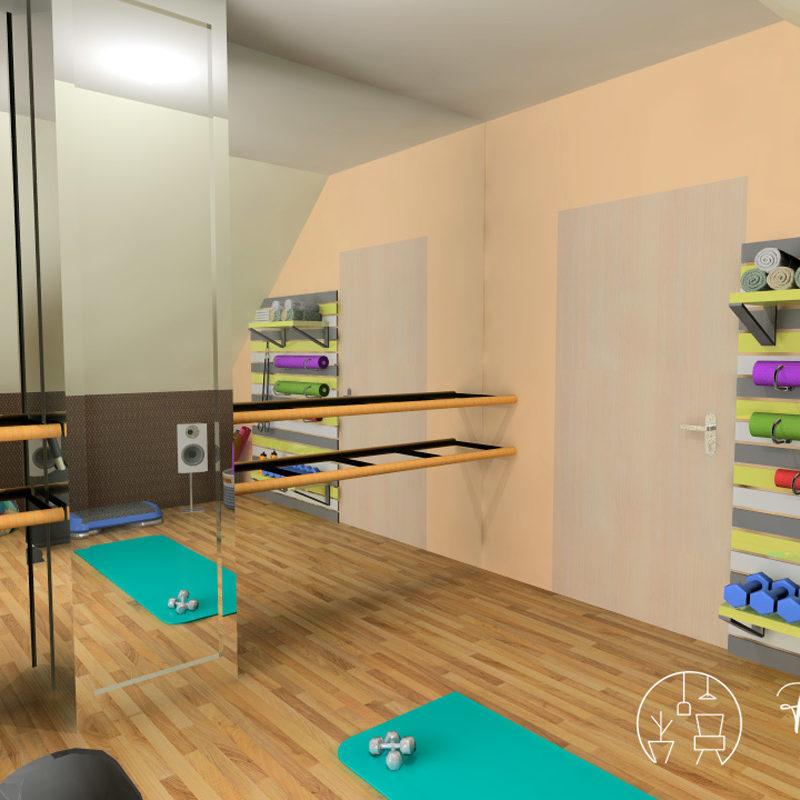 Holló Annamária lakberendező referencia - tornaszoba 3D - Jól kihasznált tetőtér