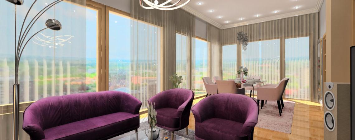 Holló Annamária lakberendező referencia - nappali 3D - Egy klasszikus, színekkel fűszerezve