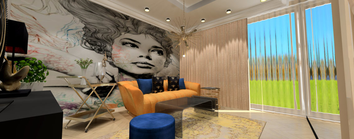 Holló Annamária lakberendező referencia - nappali 3D - Nagyvonalú elegancia