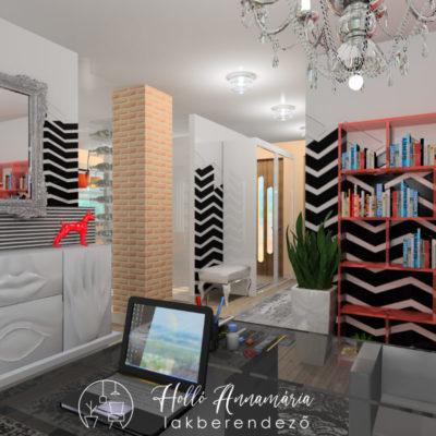 Holló Annamária lakberendező referencia - dolgozó 3D - lakás eklektikus stílusban