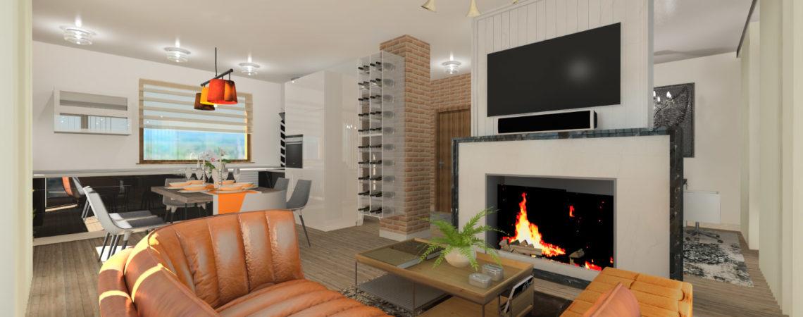 Holló Annamária lakberendező referencia - nappali 3D - lakás eklektikus stílusban