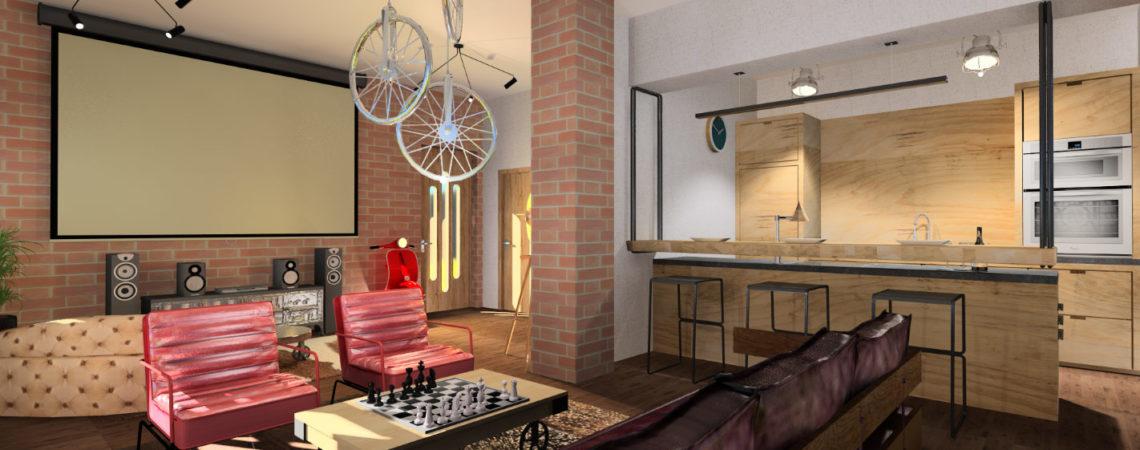 Holló Annamária lakberendező referencia  - Loft stílusú férfi lakás